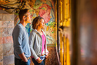 Couple in Summer Smoking Room at top of Clock Tower<br /> Cardiff Castle<br /> Cardiff<br /> South<br /> People<br /> Lifestyle<br /> Castles<br /> Historic Sites