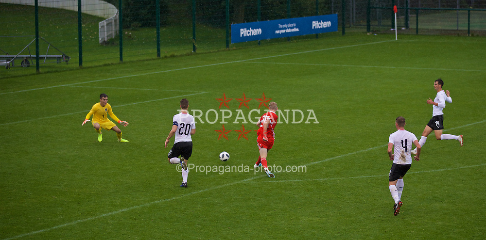 NEWPORT, WALES - Monday, October 14, 2019: Wales' Joshua Thomas scores the second goal during an Under-19's International Friendly match between Wales and Austria at Dragon Park. Wales won 2-0. (Pic by David Rawcliffe/Propaganda)
