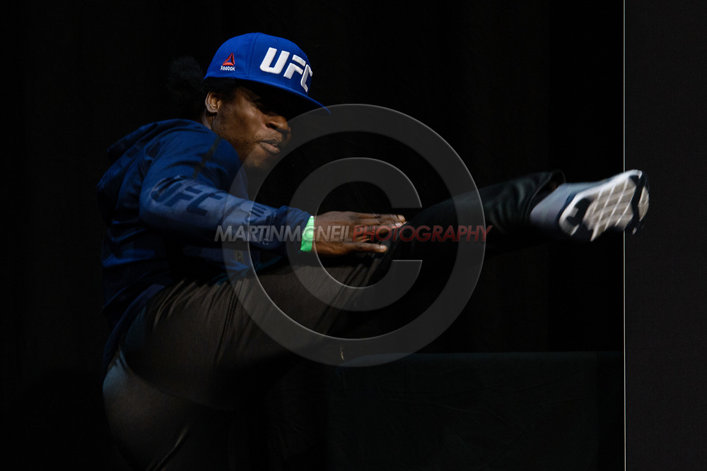 """GLASGOW, UNITED KINGDOM, JULY 15, 2017: Galore Bofando on stage during the ceremonial weigh-in for """"UFC Fight Night Glasgow: Nelson vs. Ponzinibbio"""" inside the SSE Hydro Arena in Glasgow"""