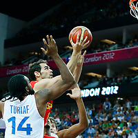 08 August 2012: Spain Jose Calderon goes for the layup past Ronny Turiaf during 66-59 Team Spain victory over Team France, during the men's basketball quarter-finals, at the 02 Arena, in London, Great Britain.