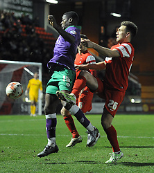 Bristol City's Kieran Agard challenges for the ball with Leyton Orient's Luke O'Neil - Photo mandatory by-line: Dougie Allward/JMP - Mobile: 07966 386802 - 03/03/2015 - SPORT - football - Leyton - Brisbane Road - Leyton Orient v Bristol City - Sky Bet League One