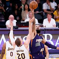 06 November 2016: Jump ball between Los Angeles Lakers center Timofey Mozgov (20) and Phoenix Suns center Tyson Chandler (4) during the LA Lakers 119-108 victory over the Phoenix Suns, at the Staples Center, Los Angeles, California, USA.
