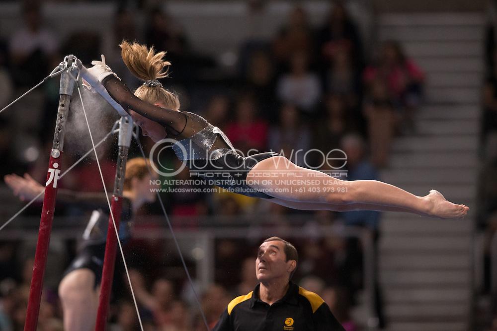 Uneven Bars, May 25, 2014 - GYMNASTICS : Australian National Gymnastics Championships, Hisense Arena, Melbourne, Victoria, Australia. Credit: Lucas Wroe / Winkipop Media