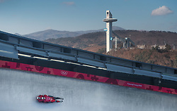 Canada's Tristan Walker and Justin Snith during the Men's Double Luge practice during day three of the PyeongChang 2018 Winter Olympic Games in South Korea. PRESS ASSOCIATION Photo. Picture date: Monday February 12, 2018. See PA story OLYMPICS Luge. Photo credit should read: David Davies/PA Wire. RESTRICTIONS: Editorial use only. No commercial use.