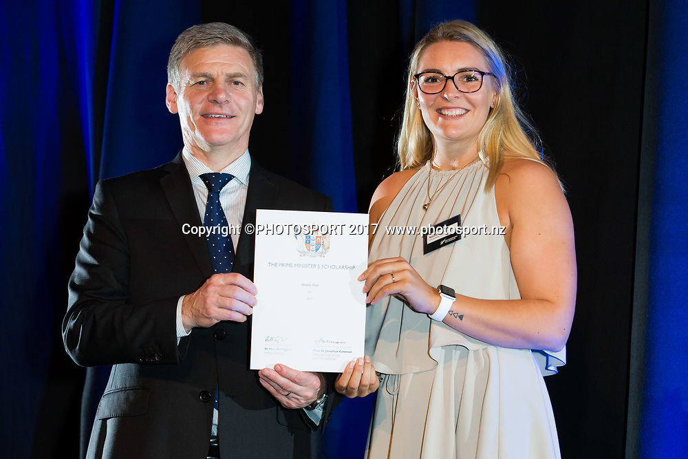 Natalie Peat with Rt Hon Bill English, 2017 Waikato Prime Minister's Scholarship Certificate Presentation Evening, Claudelands, Hamilton, New Zealand. Thursday 27 April 2017. © Copyright Photo: Stephen Barker / www.photosport.nz