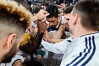 Baskonia's XXX and Real Madrid's Jeffery Taylor, Othello Hunter, Rudy Fernandez, Gustavo Ayon, Felipe Reyes and Jonas Maciulis during Semi Finals match of 2017 King's Cup at Fernando Buesa Arena in Vitoria, Spain. February 18, 2017. (ALTERPHOTOS/BorjaB.Hojas)