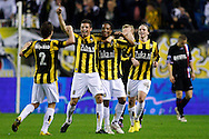 Onderwerp/Subject: Vitesse - Willem II      Eredivisie<br /> Reklame: <br /> Club/Team/Country: Vitesse - Willem II<br /> Seizoen/Season: 2009/2010<br /> FOTO/PHOTO: Vitesse's Serginho GREEN (2R) celebrates his goal with Alexander BUTTNER (R) CLAUDEMIR (2L) and Paul VERHAEGH (L) (Photo by PICS UNITED/Aaron van Zandvoort)<br /> <br /> Trefwoorden/Keywords: <br /> #02 $28 &plusmn;1261427875599<br /> Photo- &amp; Copyrights &copy; PICS UNITED<br /> P.O. Box 7164 - 5605 BE  EINDHOVEN (THE NETHERLANDS)<br /> Phone +31 (0)40 296 28 00<br /> Fax +31 (0) 40 248 47 43<br /> http://www.pics-united.com<br /> e-mail : sales@pics-united.com (If you would like to raise any issues regarding any aspects of products / service of PICS UNITED) or<br /> e-mail : sales@pics-united.com <br /> <br /> ATTENTIE:<br /> Publicatie ook bij aanbieding door derden is slechts toegestaan na verkregen toestemming van Pics United.<br /> VOLLEDIGE NAAMSVERMELDING IS VERPLICHT! (&copy; PICS UNITED/Naam Fotograaf, zie veld 4 van de bestandsinfo 'credits')<br /> ATTENTION: <br /> &copy; Pics United. Reproduction/publication of this photo by any parties is only permitted after authorisation is sought and obtained from  PICS UNITED- THE NETHERLANDS