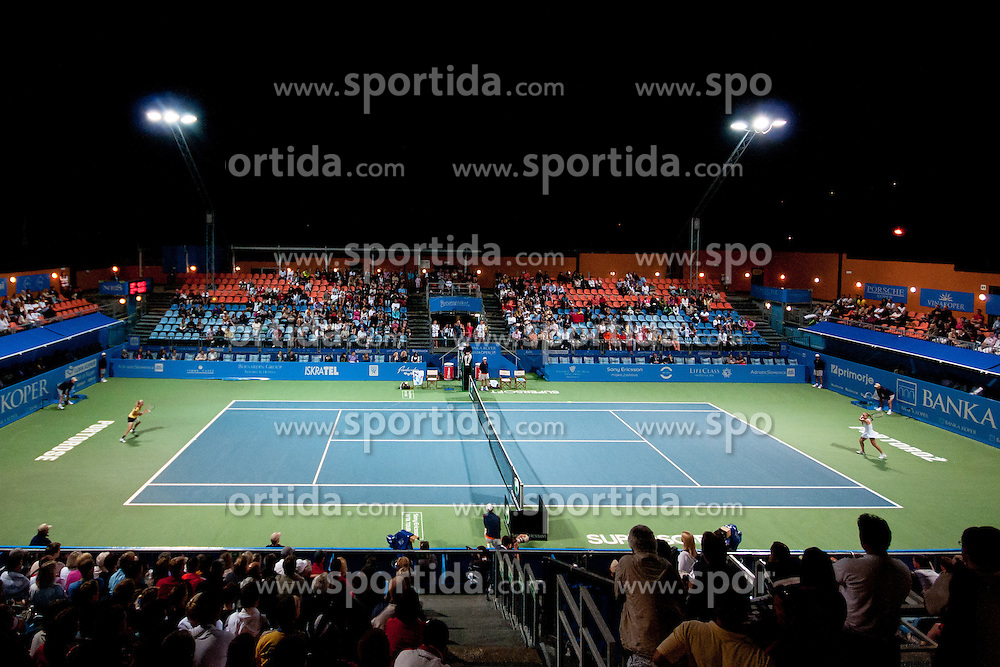 View from top on the court at final match of Singles at Banka Koper Slovenia Open WTA Tour tennis tournament, on July 25, 2010 in Portoroz / Portorose, Slovenia. (Photo by Matic Klansek Velej / Sportida)