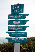 Signpost at Shell Beach, Island of Herm, Channel Islands, Great Britain