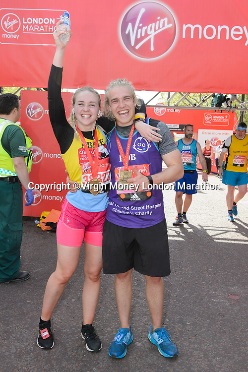 Bobby Lockwood (Actor running for Great Ormond Street Hospital) with his sister. The Virgin Money London Marathon, 23rd April 2017.<br /> <br /> Photo: Joanne Davidson for Virgin Money London Marathon<br /> <br /> For further information: media@londonmarathonevents.co.uk