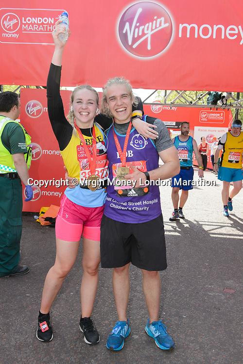Bobby Lockwood (Actor running for Great Ormond Street Hospital) with his sister. The Virgin Money London Marathon, 23rd April 2017.<br /> <br /> Photo: Joanne Davidson for Virgin Money London Marathon<br /> <br /> For further information: media@londonmarathonevents.co.uk