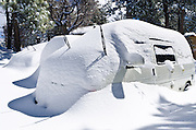 Cars buried in snow, Green Valley Lake, California USA