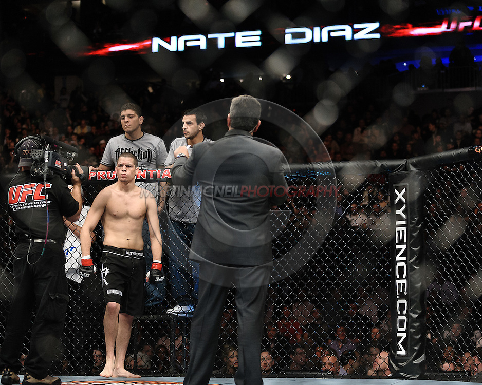 """NEWARK, NEW JERSEY, MARCH 27, 2010: Nate Diaz stands in his corner ahead of his fight at """"UFC 111: St. Pierre vs. Hardy"""" in the Prudential Center, New Jersey on March 27, 2010. (Martin McNeil for ESPN.com)"""
