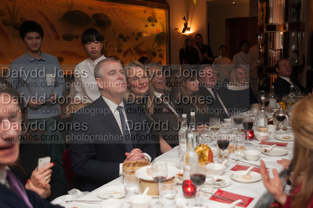 PRINCE ANDREW; MRS. HOWARD BARCLAY, Chinese New Year dinner given by Sir David Tang. China Tang. Park Lane. London. 4 February 2013.