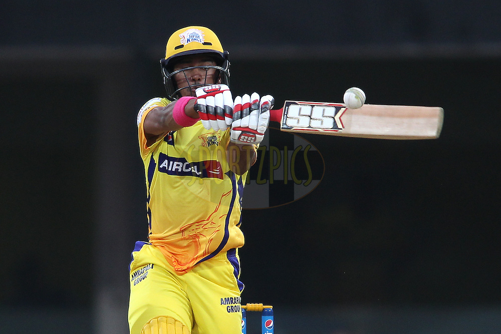 Pawan Negi of Chennai Super Kings pulls a delivery to the boundary during match 37 of the Pepsi IPL 2015 (Indian Premier League) between The Chennai Superkings and The Royal Challengers Bangalore held at the M. A. Chidambaram Stadium, Chennai Stadium in Chennai, India on the 4th May April 2015.<br /> <br /> Photo by:  Shaun Roy / SPORTZPICS / IPL