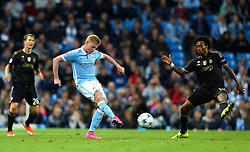Kevin de Bruyne of Manchester City in action during the UEFA Champions League group stage match between Manchester City and Juventus at the Etihad Stadium - Mandatory byline: Matt McNulty/JMP - 07966386802 - 15/09/2015 - FOOTBALL - Etihad Stadium -Manchester,England - Manchester City v Juventus - UEFA Champions League - Group D