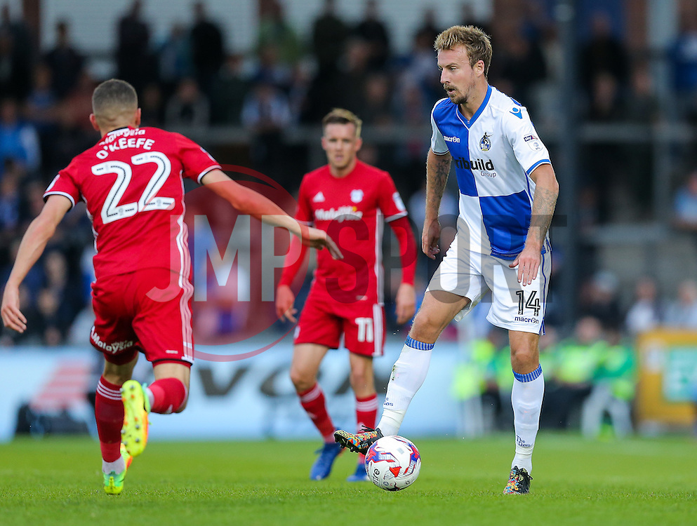 Chris Lines of Bristol Rovers is challenged by Stuart O'Keefe of Cardiff City - Rogan Thomson/JMP - 11/08/2017 - FOOTBALL - Memorial Stadium - Bristol, England - Bristol Rovers v Cardiff City - EFL Cup First Round.