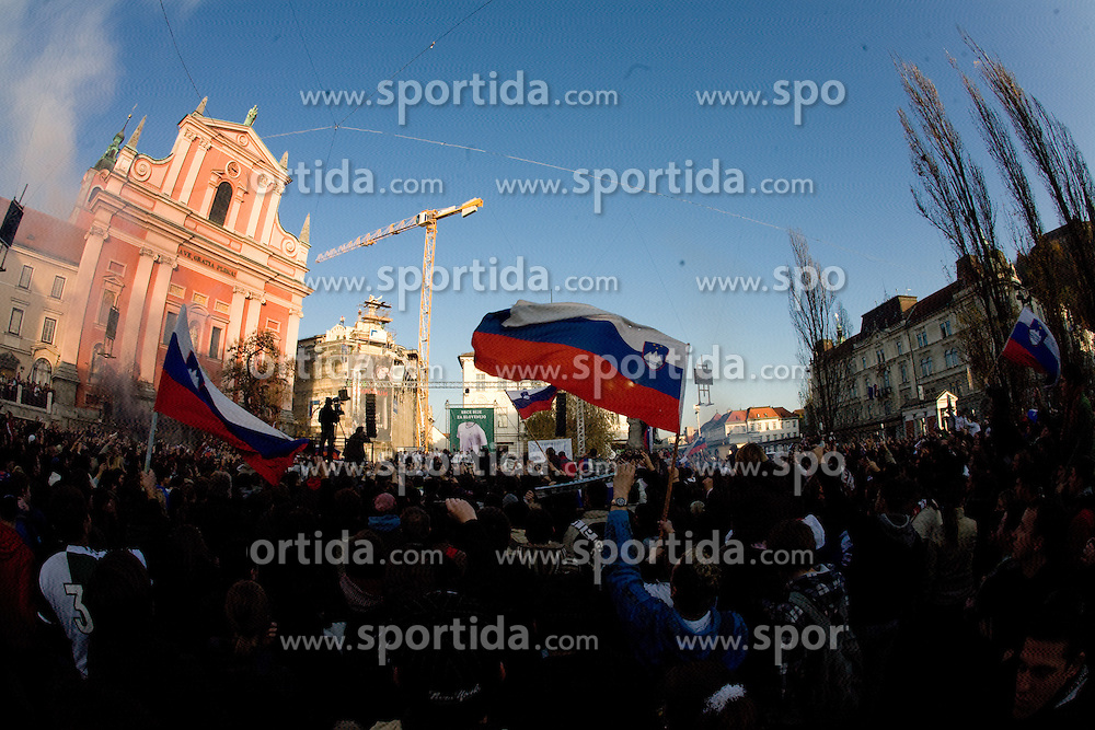 Fans at Reception of Slovenian National football team after they qualified for FIFA World Championships South Africa 2010, in Presernov trg, Ljubljana, Slovenia.   (Photo by Vid Ponikvar / Sportida)