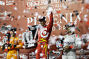 1-2 April, 2016, Avondale, Arizona USA<br /> Scott Dixon celebrates his win in Gatorade Victory Lane with 22 Simon Pagenaud and 12 Will Power<br /> &copy;2016, Sam Cobb<br /> LAT Photo USA