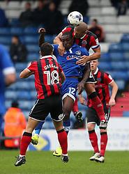 Adam El-Abd of Shrewsbury Town wins a header above Freddie Ladapo of Oldham Athletic  - Mandatory by-line: Matt McNulty/JMP - 03/09/2016 - FOOTBALL - Sportsdirect.com Park - Oldham, England - Oldham Athletic v Shrewsbury Town - Sky Bet League One