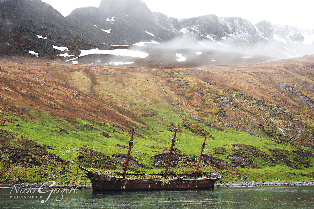 Landscape, Abandoned Boat on the Water.<br />