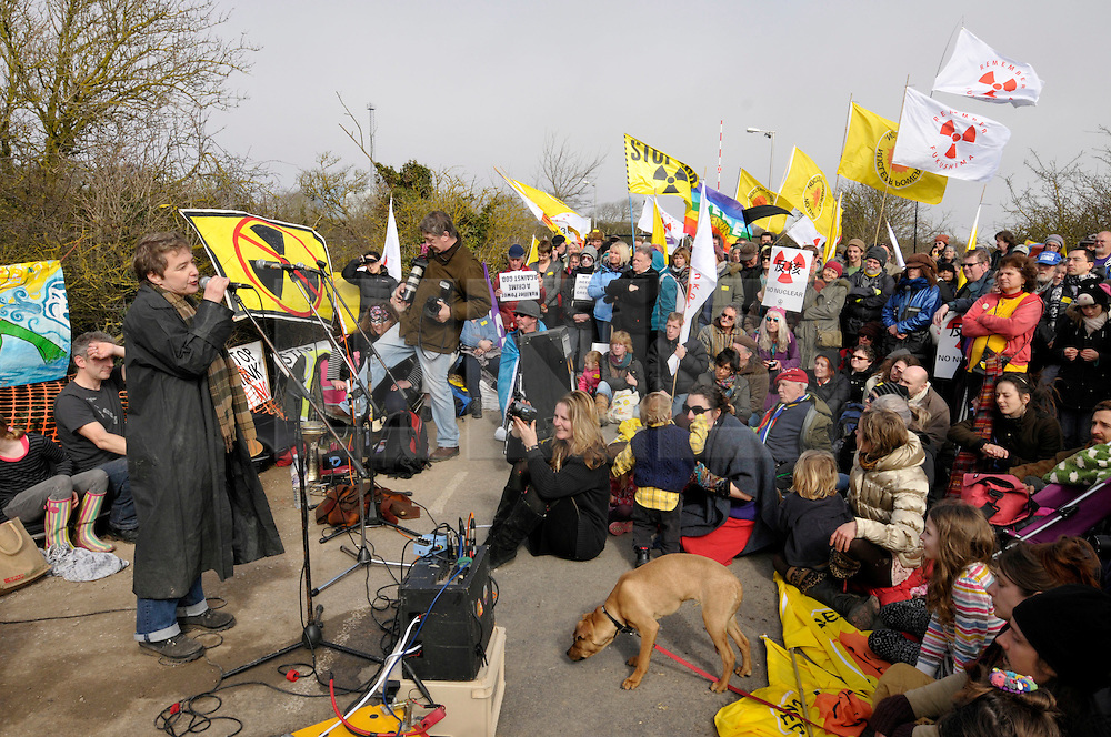 © Licensed to London News Pictures. 10/03/2012. Kate Hudson from CND speaking at an anti-nuclear demonstration at Hinkley Point nuclear power station in Somerset, UK, on the anniversary of the Fukushima nuclear disaster in Japan.  EDF Energy plans to build a new nuclear power station at Hinkley C powered by EPR reactors..Photo credit : Simon Chapman/LNP