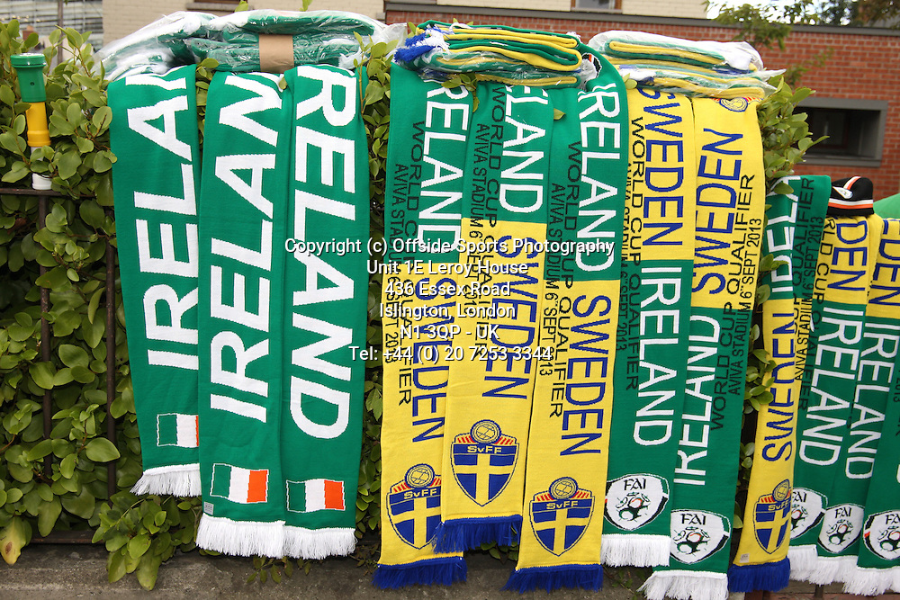06/09/2013 FIFA 2014 World Cup Qualifying - Group C . Rep of Ireland v Sweden<br /> Ireland and Sweden scarfs outside the stadium<br /> Photo: John Halas
