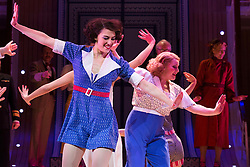 © Licensed to London News Pictures. 30/01/2015. London, England. Victoria Hinde performing at the front. The Sheffield Crucible Theatre production of Cole Porter's classic musical comedy, Anything Goes, opens at the New Wimbledon Theatre, London, before embarking on a UK tour. Opening on 29 January and running to 7 February 2015, the musical is directed by Daniel Evans with Debbie Kurup as Reno and Matt Rawl as Billy, featuring Hugh Sachs, Simon Rouse and Jane Wymark. Photo credit: Bettina Strenske/LNP