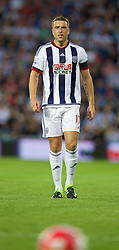 WEST BROMWICH, ENGLAND - Monday, August 10, 2015: West Bromwich Albion's Rickie Lambert in action against Manchester City on his debut during the Premier League match at the Hawthorns. (Pic by David Rawcliffe/Propaganda)
