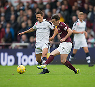 Hearts&rsquo; Jamie Walker and Dundee&rsquo;s Danny Williams - Hearts v Dundee, Ladbrokes Scottish Premiership at Tynecastle, Edinburgh. Photo: David Young<br /> <br />  - &copy; David Young - www.davidyoungphoto.co.uk - email: davidyoungphoto@gmail.com