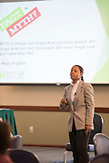 Brittany Tyree, the Senior Assistant Director of Career Management, gives students advice on how to approach firms at career fairs during the How to Meet the Firms interactive student workshop, put on by the College of Business on Sept. 6, 2016. Photo by Emily Matthews