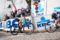 Cecilie Uttrup Ludwig (DEN) reaches the top of Paterberg at Ronde van Vlaanderen - Elite Women 2019, a 159.2 km road race starting and finishing in Oudenaarde, Belgium on April 7, 2019. Photo by Sean Robinson/velofocus.com