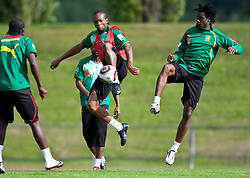 21.05.2010, Dolomitenstadion, Lienz, AUT, WM Vorbereitung, Kamerun Training im Bild Gaetan Bong, Abwehr, Nationalteam Kamerun (Valenciennes), Nicolas Nkoulou, Abwehr, Nationalteam Kamerun (AS Monaco), EXPA Pictures © 2010, PhotoCredit: EXPA/ J. Feichter / SPORTIDA PHOTO AGENCY