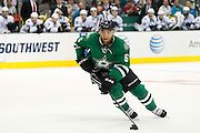 DALLAS, TX - OCTOBER 17:  Trevor Daley #6 of the Dallas Stars controls the puck against the San Jose Sharks on October 17, 2013 at the American Airlines Center in Dallas, Texas.  (Photo by Cooper Neill/Getty Images) *** Local Caption *** Trevor Daley
