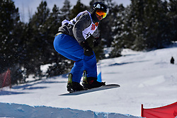 Snowboarder Cross Action, FLEMING Dustin, USA at the 2016 IPC Snowboard Europa Cup Finals and World Cup