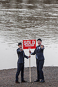River Thames & banks SOLD! Sam & John have been travelling around the London borough of Wandsworth selling off Land to greedy land owners. They have been erecting Sold signs at various local landmarks.