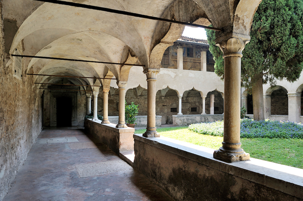 Gargnano, Lombardy, Italy. The 15thC Cloister of St. Francis in the town of Gargnano, Lake Garda.