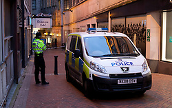 © Licensed to London News Pictures.12/01/2013. Birmingham, UK. The scene today in Union Passage, in the heart of Birmingham City Centre where two stabbings took place. Photo credit : Dave Warren/LNP