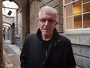 BILL FONTANA, Bill Fontana: River Sounding. An installation by sound artist Bill Fontanain in  Somerset House's basement.  London. 14 April 2010.