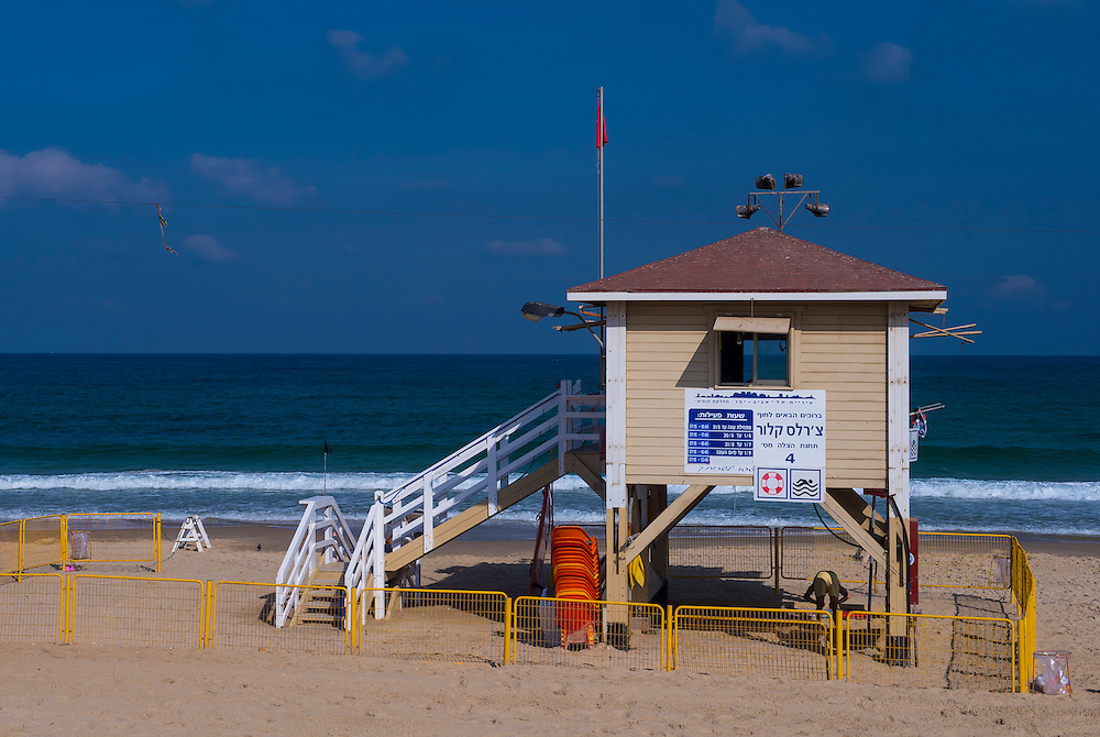Lifeguard station at the beach in Tel Aviv , Israel