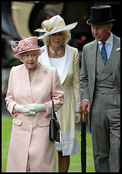 Hm The Queen with The Duchess of Cornwall and Prince Charles at the Opening day of Royal Ascot 2013 Ascot, United Kingdom<br /> Tuesday, 18th June 2013,<br /> Picture by Andrew Parsons / i-Images