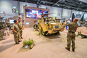 The UK Government stand - The DSEI (Defence and Security Equipment International) exhibition at the Excel Centre, Docklands, London UK 15 Sept 2015