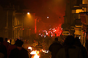 Torchlit parade on the Lewes High Street, Sussex, bonfire night, 5/11/05