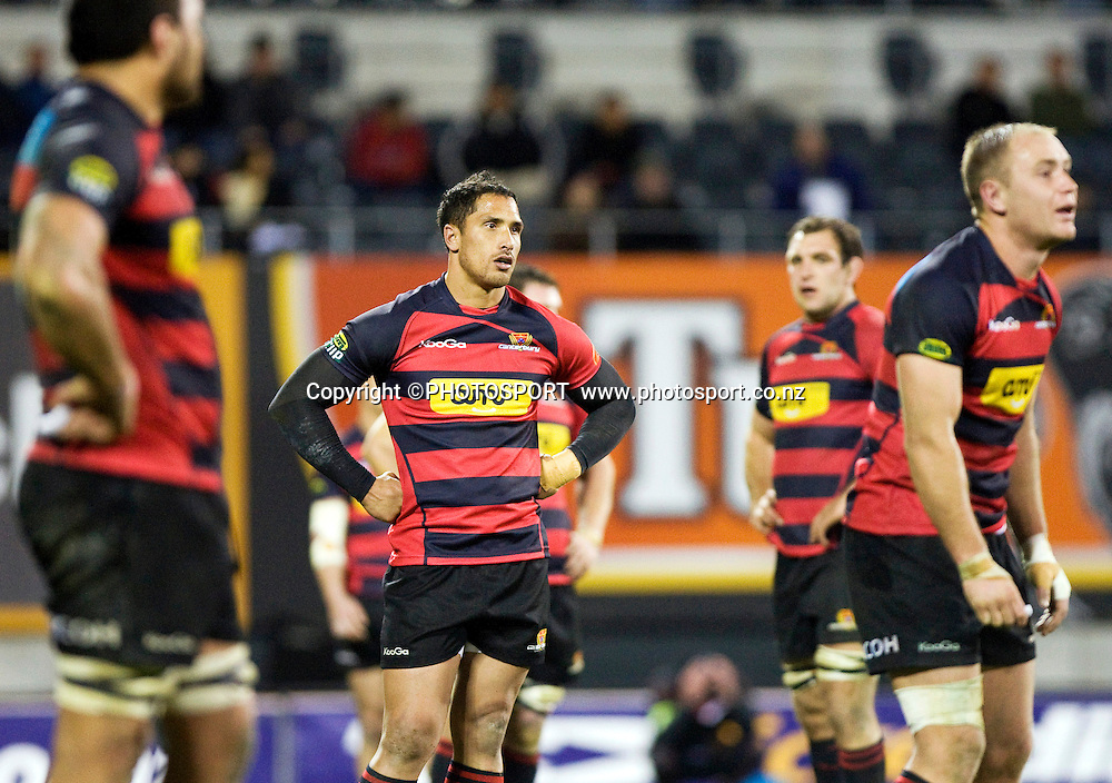 Stephen Brett and fellow Canterbury players react to the penalty late in the game to give Hawke's Bay the 23-23 draw. ITM Cup. Canterbury v Wellington at AMI Stadium, Christchurch. Friday 30 July 2010. Photo: Joseph Johnson/PHOTOSPORT