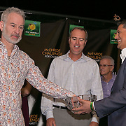 March 6, 2015, Indian Wells, California:<br /> John McEroe and Rick Leach participate in a draw ceremony with Joe Kiani, Founder, Chairman and CEO of Masimo, during the McEnroe Challenge for Charity VIP Draw Ceremony in Stadium 2 at the Indian Wells Tennis Garden in Indian Wells, California Friday, March 6, 2015.<br /> (Photo by Billie Weiss/BNP Paribas Open)