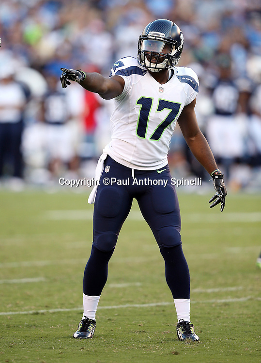 Seattle Seahawks wide receiver Kevin Smith (17) points before going out for a pass during the 2015 NFL preseason football game against the San Diego Chargers on Saturday, Aug. 29, 2015 in San Diego. The Seahawks won the game 16-15. (©Paul Anthony Spinelli)
