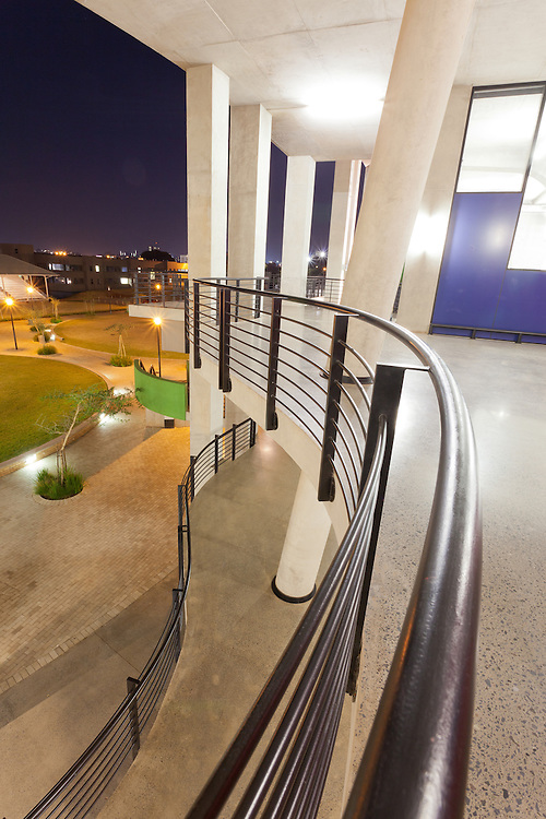 University of the Witwatersrand (Wits) Science Stadium walkway, handrail detail, Johannesburg, South Africa.