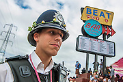 And the beat goes on in so many ways for the Avon and Somerset Police.The 2013 Glastonbury Festival, Worthy Farm, Glastonbury. 30 June 2013.  © Guy Bell, guy@gbphotos.com, all rights reserved