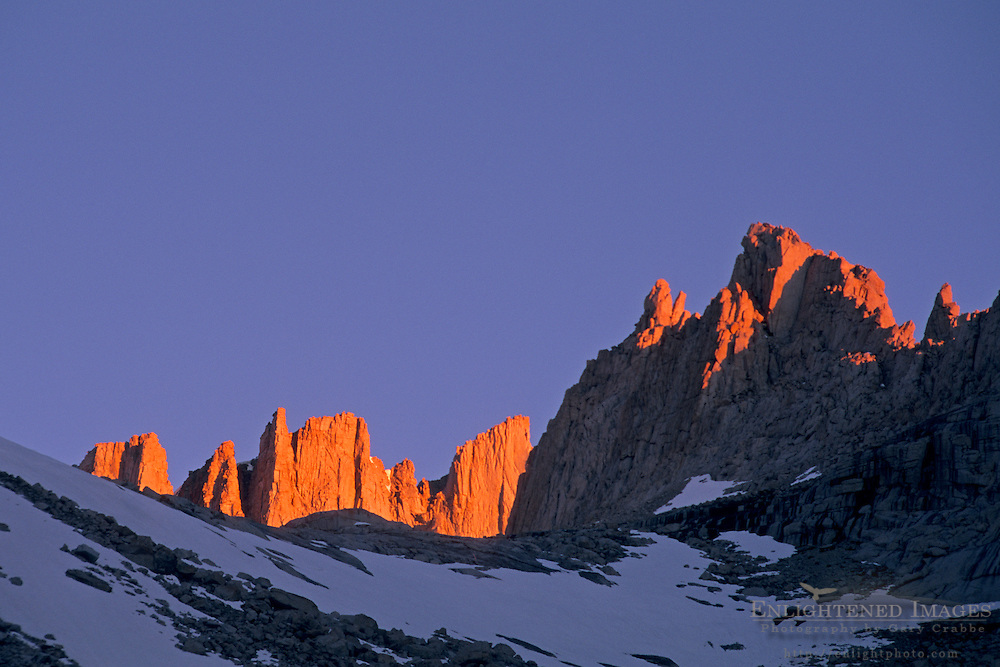 Alpenglow on rock spires below Mount Whitney, Inyo National Forest, Eastern Sierra, California