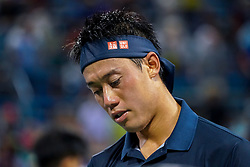 August 15, 2018 - Cincinnati, OH, U.S. - CINCINNATI, OH - AUGUST 15: Kei Nishikori (JPN) returns to play during the Western & Southern Open at the Lindner Family Tennis Center in Mason, Ohio on August 15, 2018. (Photo by Adam Lacy/Icon Sportswire) (Credit Image: © Adam Lacy/Icon SMI via ZUMA Press)